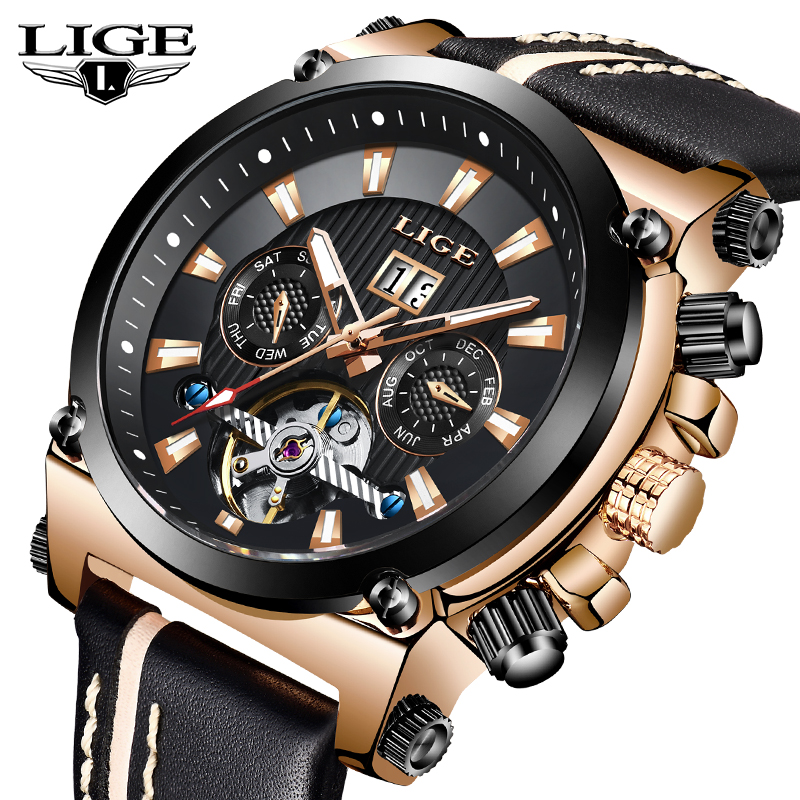 LIGE Fashion Men Watch Top Brand Luxury Automatic Mechanical Watches Men Casual Leather Waterproof Sport Tourbillon