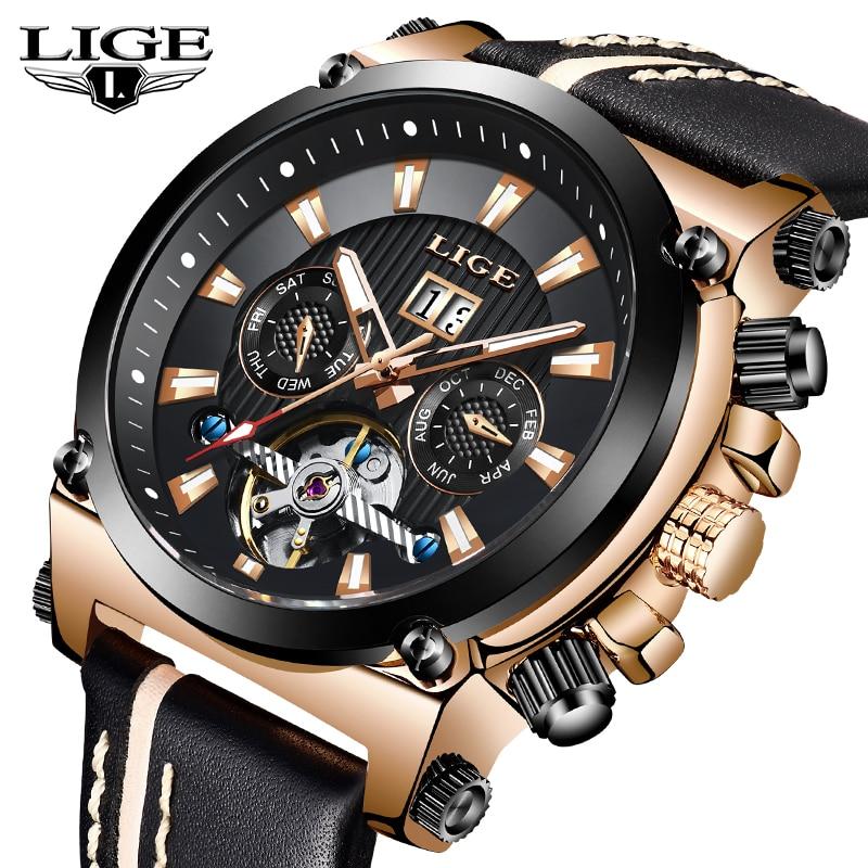 LIGE Fashion Men Watch Top Brand Luxury Automatic Mechanical Watches Men Casual Leather Waterproof Sport Tourbillon