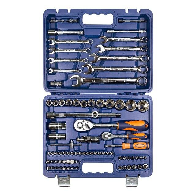 Набор ручного инструмента Helfer HF000010 (82 предмета, 13 торцевых головок 1/2, 18 торцевых головок 1/4, кейс с замками)