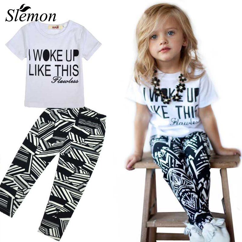 Baby Girl Summer Clothing Set 2018 Kids Girls Boutique Outfits 2Pcs Pants Shirts Brand Fashion Baby White Shorts and Black Pants baby kids baseball season clothes baby girls love baseball clothing girls summer boutique baseball outfits with accessories