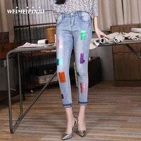 Autumn Fashion Pencil Jeans Women Elastic Soft stretch Denim Pants Female Slim Cuffs Pants Cropped Trousers Vintage Skinny Jeans