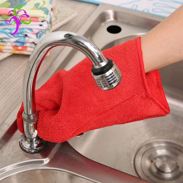 Rot Reinigungstuch Mikrofaser Handschuh Umweltfreundliche Ausgestattete Für  Bad Boden Möbel Küche Fahrzeugreinigung CG 001