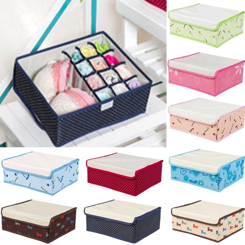 12 Cell Nonwoven Folding Underwear Organizer Closet Drawer Storage Box For Socks Ties Bra