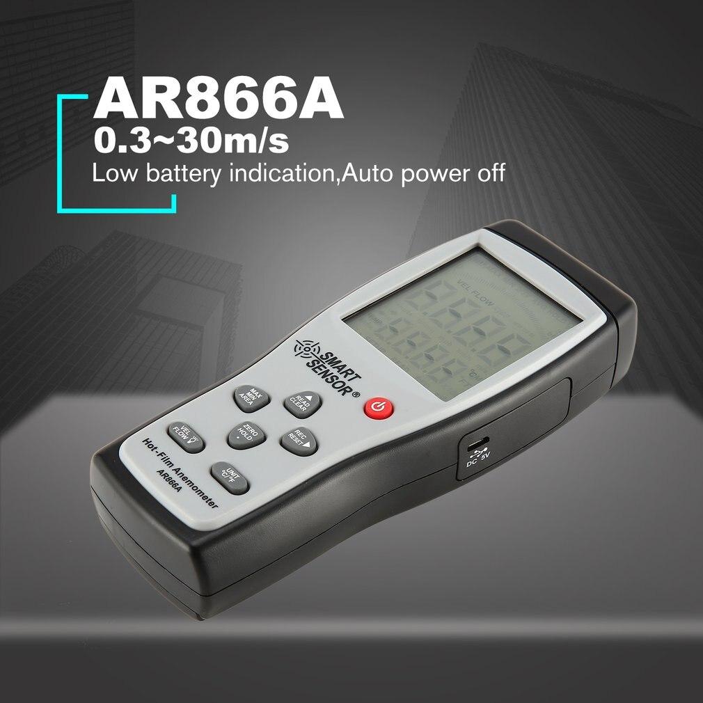 SMART SENSOR AR866 Digital Hot-film Thermal Anemometer Air/Wind Speed Meter 0.3~30m/s Anemometro Measuring Instrument SaleSMART SENSOR AR866 Digital Hot-film Thermal Anemometer Air/Wind Speed Meter 0.3~30m/s Anemometro Measuring Instrument Sale