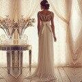 2016 Luxo Frisada Com Decote Em V Sem Mangas Praia vestido de Noiva Plus Size Backless Bohemain vestido de Noiva Robe de mariage Vestidos de novia