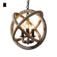 35/45/55cm Hemp Rope Ball Globe Pendant Light Fixture Loft Retro Vintage Rustic Industrial Hanging Lamp Luminaria Indoor Home