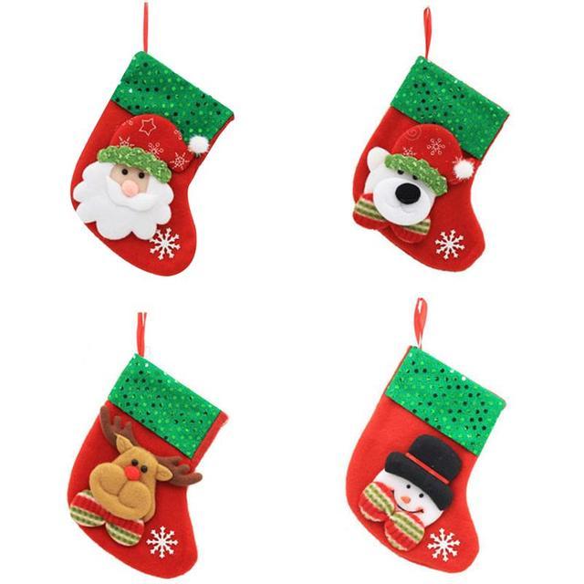 4pcs xmas stockings merry christmas decorations bags socks classic candy bag hanging ornamentsnowman elk - Xmas Stockings