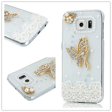 Luxury Diamond Bling Rhinestone Clear Butterfly Pearl Protective Shell Phone Back Cover Case For Samsung Galaxy