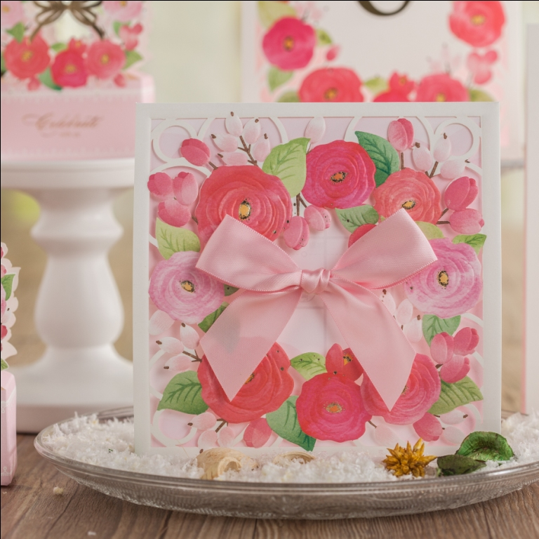 CW6008 Color Floral Embossed Laser Cut Wedding Invitation Free Shipping Printable Customized Greeting Birthday Card