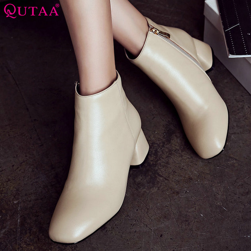 ФОТО QUTAA Black Beige Women Shoes PU leather Square Med Heel Ankle Boots Zipper Round Toe Women Motorcycle Boots Size 34-39