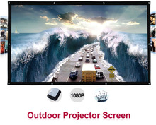 150 inches 16:9 Portable Wall Mounted Matt White Canvas Folding Outdoor Projection Screen for LED LCD HD Movie Projector Display