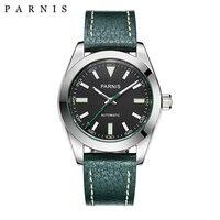 40 мм часы Parnis механические сапфировое стекло повседневное кожа Miyota 8215 для мужчин автоматические часы новое поступление 2018 PA2107