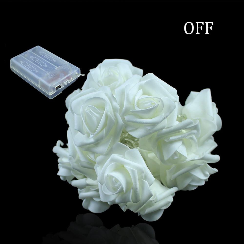 2M 20LED Batteridrevet Holiday Light LED Rose Flower Fairy String - Ferie belysning - Bilde 2