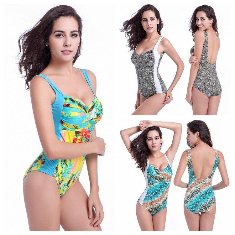 Floral print one piece swimsuits chest gather sexy swimwear backless one piece bikini With plus size