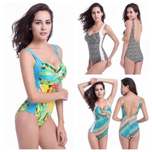 Floral print one-piece swimsuits chest gather sexy swimwear backless one-piece bikini With plus size as to 3XL