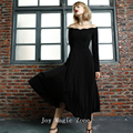 Free shipping L406 new arrival autumn and spring women's dresses, high quality long sleeve one piece black long dress