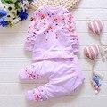 Moda 2016 Baby Set Algodón Del Bebé Marcas de Ropa de la Ropa de Los Niños Pantalones de La Muchacha + t-shirt 2 unids bebé Traje de Verano Mutli Colores