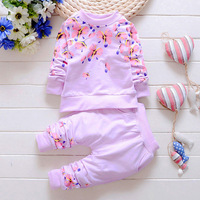Fashion 2016 Baby Set Cotton Baby Girl Brands Clothes Kids Clothing Set Girl Pants T Shirt