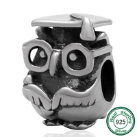 Doctor Owl beads wholesale Authentic 925 sterling silver charm Fits for Pandora charm Bracelets
