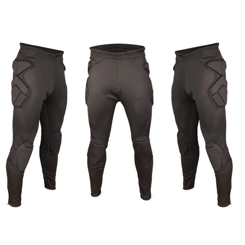 Men's Padded Guard Soccer Football Goalie Long Sport Pants Skinny Tracksuit