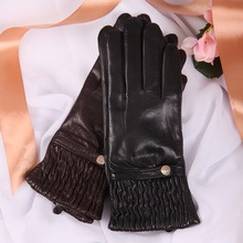 Genuine Leather Woman Gloves Keep Warm Knitted Lined Fashion Driving Autumn Winter Sheepskin Gloves Female EL045NZ-9 autumn winter woman s gloves sheepskin patchwork driving leather gloves warm lined female mittens a1051 1