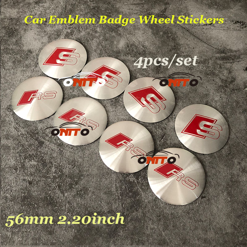 For RS S Sline Logo Label Stickers 4PCS/LOT 56MM Car Wheel hub Stickers Car Badge Emblem For Audi A1 A2 A3 A4 A5 A6 A7