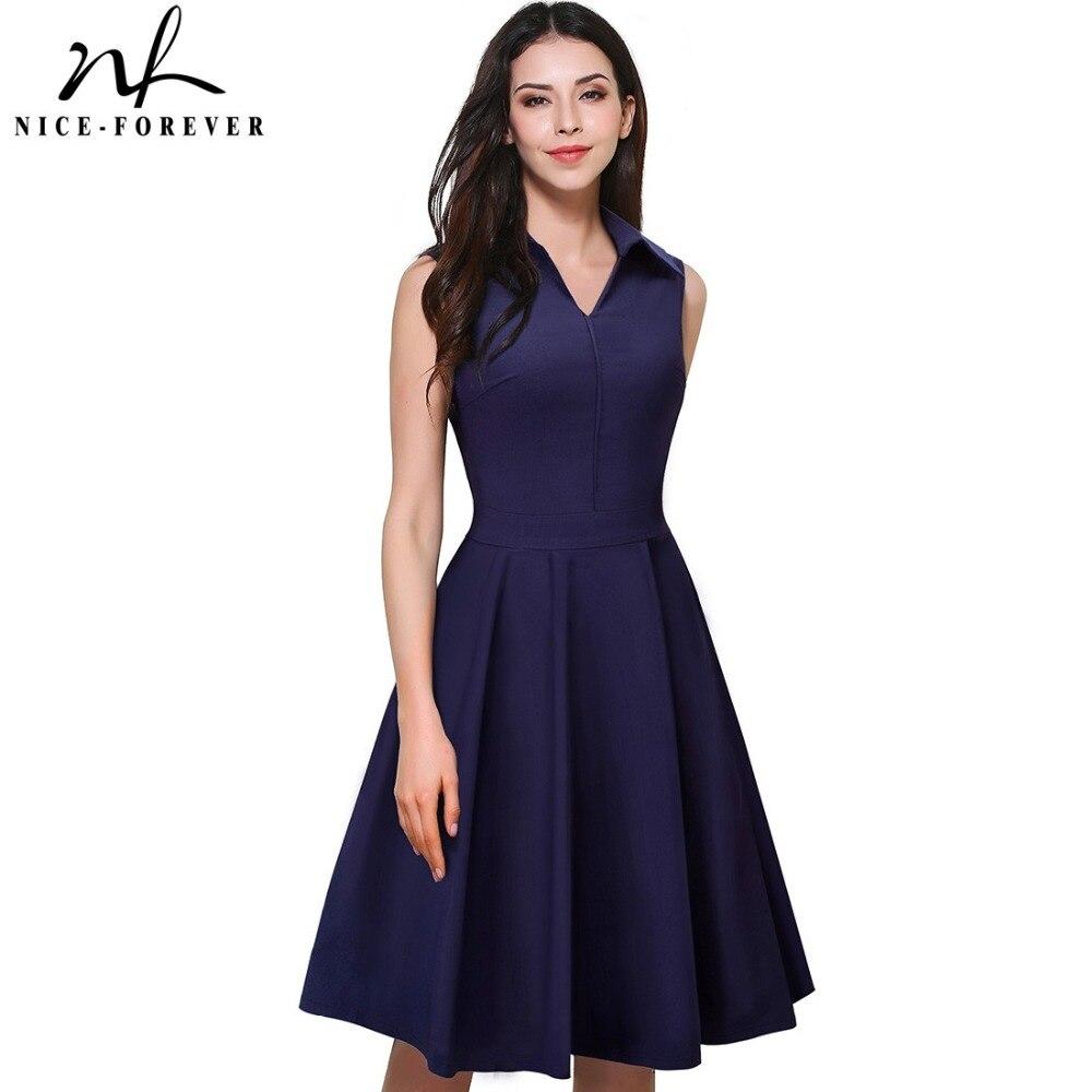 Nice Forever 1950 S Vintage Elegant Zipper Turn Down Collar Work Dress Women Sleeveless A Line