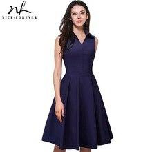Nizza per sempre vintage elegante zipper gira giù il collare lavoro dress donne senza maniche a line pinup flare estate dress a037
