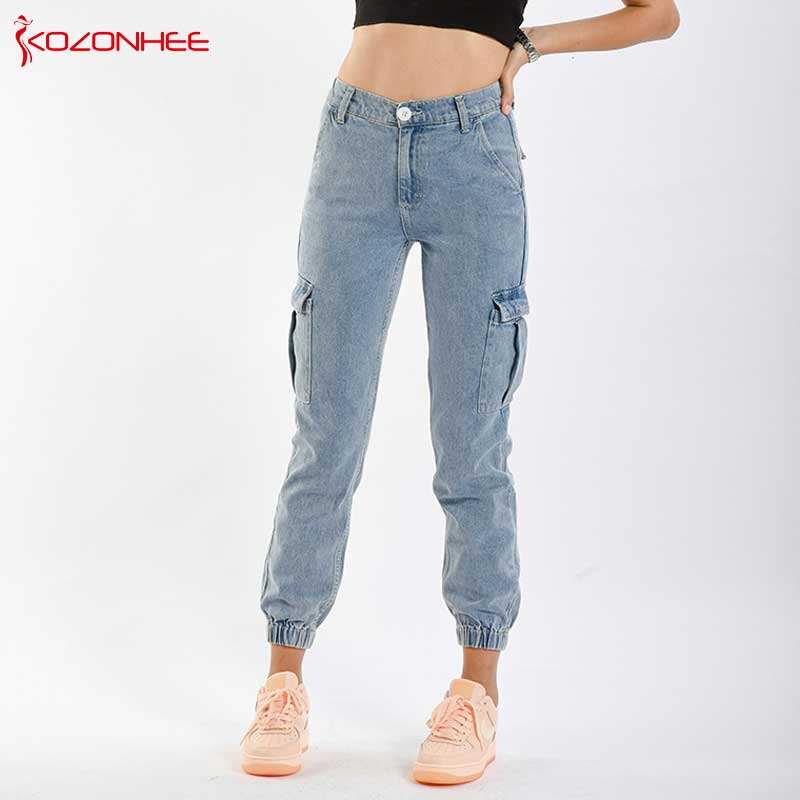 Fashion Cargo   Jeans   Women With High Waist Loose Elastic Waist Big Pocket Women   Jeans   Harem pants #71