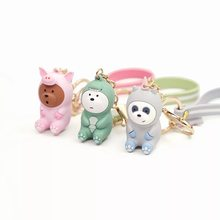 We bare bears lovely Doll KeyRing Figures Toy Grizzly Panda Ice Bear Cosplay Keyring Charms for Women Bag Pendant Accessories(China)