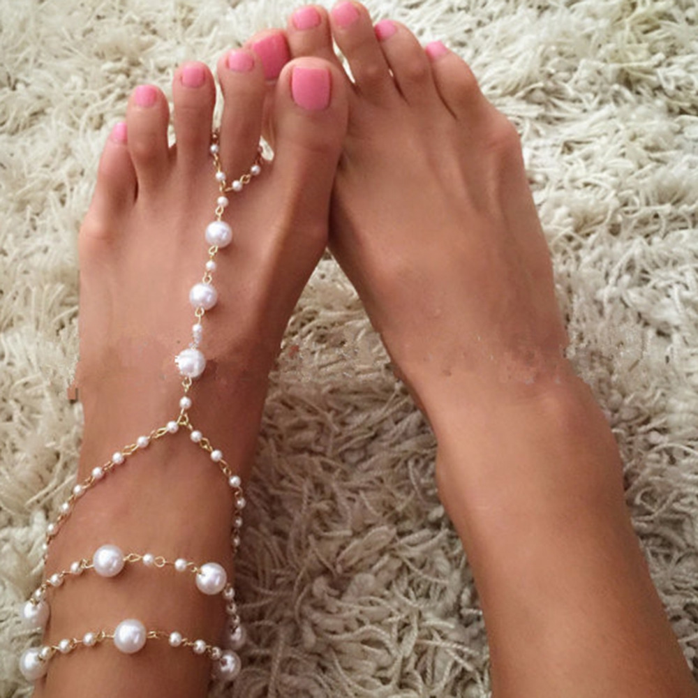 Simulated Pearl Barefoot Sandal Bohemia Foot Chain Toe Ring Anklet For Women Beach Jewelry