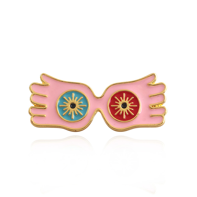 Harri Potter Luna Lovegood'S Glasses Brooch Metal Badge  Chest Brooch Button Ornament Chespin Costume Accessories Ornament