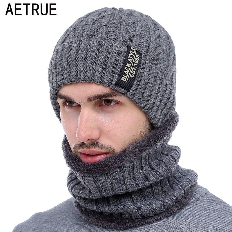 AETRUE брендовые зимние шапки для мужчин зимняя шапочки Мужская зимняя вязаная шапка шарф шерсть женская маска капота мужская шапка