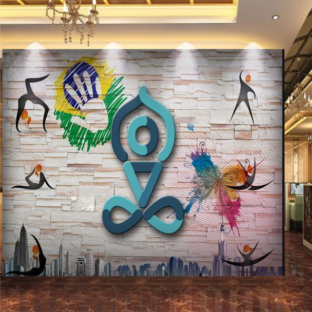 Wallpaper 3d Ancient 3D Stereo Wall Paintings Yoga Museum Gym Background Modern Minimalist Hand Painted