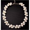 2016 Nuevo de Buena Calidad Chapado En Oro Con Incrustaciones de diamantes de Imitación de Diamante collar Corto Gargantilla Collar de Perlas VENTA de Regalos sf-19
