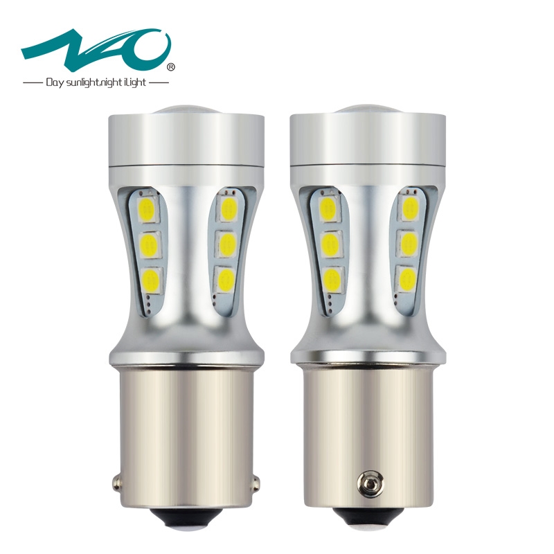 NAO 2x p21w led car 1156 LED BA15S P21W S25 18 led 3030 Chips 6000K White Red Yellow Brake Lights Reverse Lamp DRL Car Tail Bulb 2 blanco p21w 50w led cree chips 1156 382 ba15s drl bombillas durante el drl luces de marcha atras indicadores for skoda vw audi