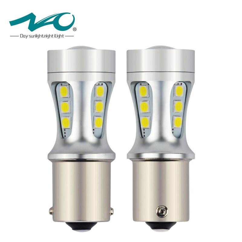 NAO 2x1156 LED BA15S P21W S25 18 led 3030 Chip 6000 K Bianco Rosso Giallo Luci di Stop Lampada Reverse DRL della Coda Dell'automobile lampadina