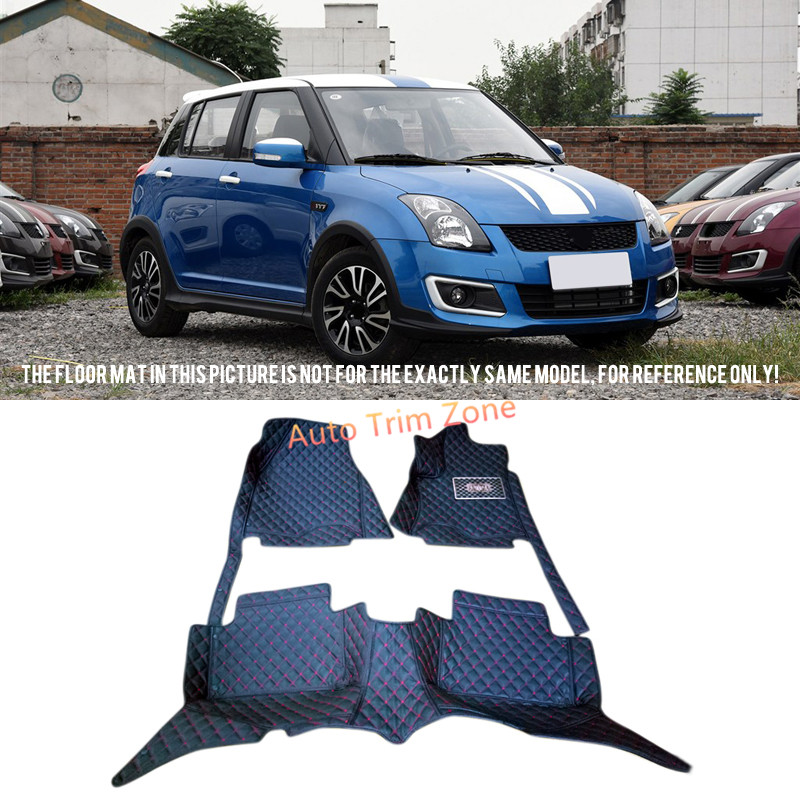 Interior Black Leather Floor Mats & Carpets For Suzuki Swift 2013 2014 2015 black leather interior floor mats