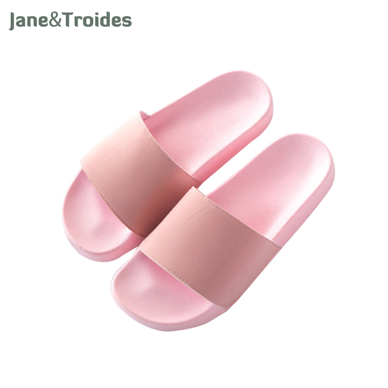 Summer Solid Color Home Women Slippers Open Toe Anti Slip Thicken Flip Flops PVC Casual Beach