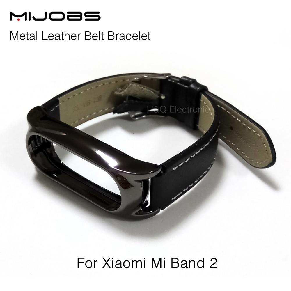 Mijobs Adjustable Xiaomi Mi Band 2 Leather Strap Plus With Metal Frame For Mi Band 2 Smart Bracelet Xiaomi Mi Band 2 Accessories