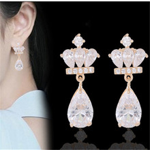 1 pair Creative Court Princess Crown Zircon Tongue For Women Jewelry Dropshiping gift