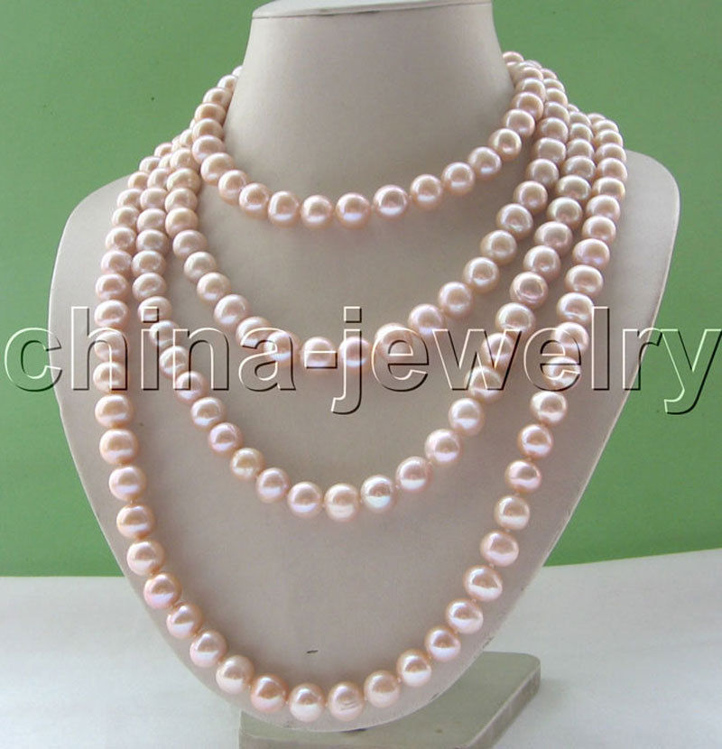 Selling Jewelry>>> 80 Long 11 12mm natural light purple round freshwater pearl necklace