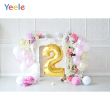 Yeele 2 Year Birthday Scene Balloons Baby Party Personalized Photographic Backdrops Photography Backgrounds For Photo Studio