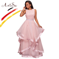 ArtSu Elegant Long Party Dress Women O Neck Sleeveless Floral Patchwork Maxi Lace Dress Pink And Black Ball Gown Robe De Soiree