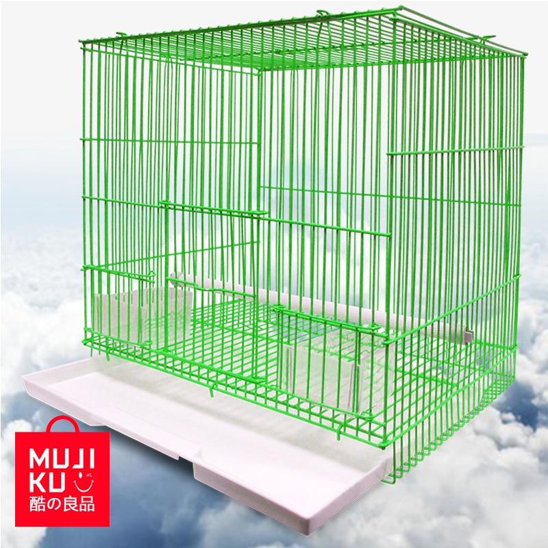 MUJIKU L'aviculture Outil Fournitures Pour Animaux de compagnie Cage À Oiseaux Maison D'oiseau Perroquet Cage Équipée Debout Bâton Alimentaire Fenêtre Poignées Plateaux