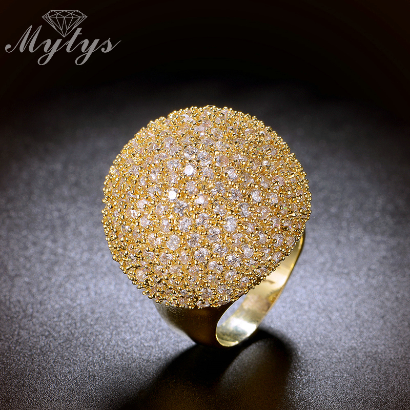 Mytys Pave Setting Crystal Luxury Chunky Ring Ball Bentuk Fesyen - Perhiasan fesyen