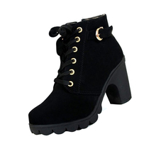 ASDS Women Fashion Lacing Side zipper Thick crust High-heeled Ankle Boots