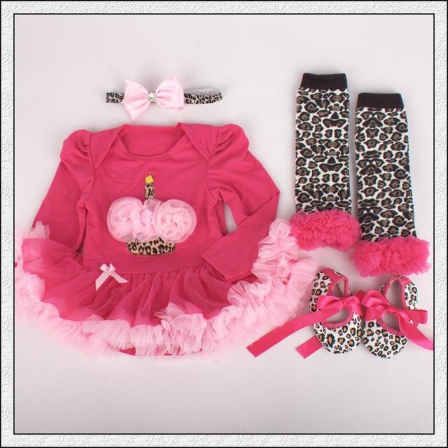 4 unids por juego rosas fuertes 1st Birthday conjuntos Baby Girls manga larga vestido del tutú de la venda zapato Leggings para 0-12 meses envío gratis
