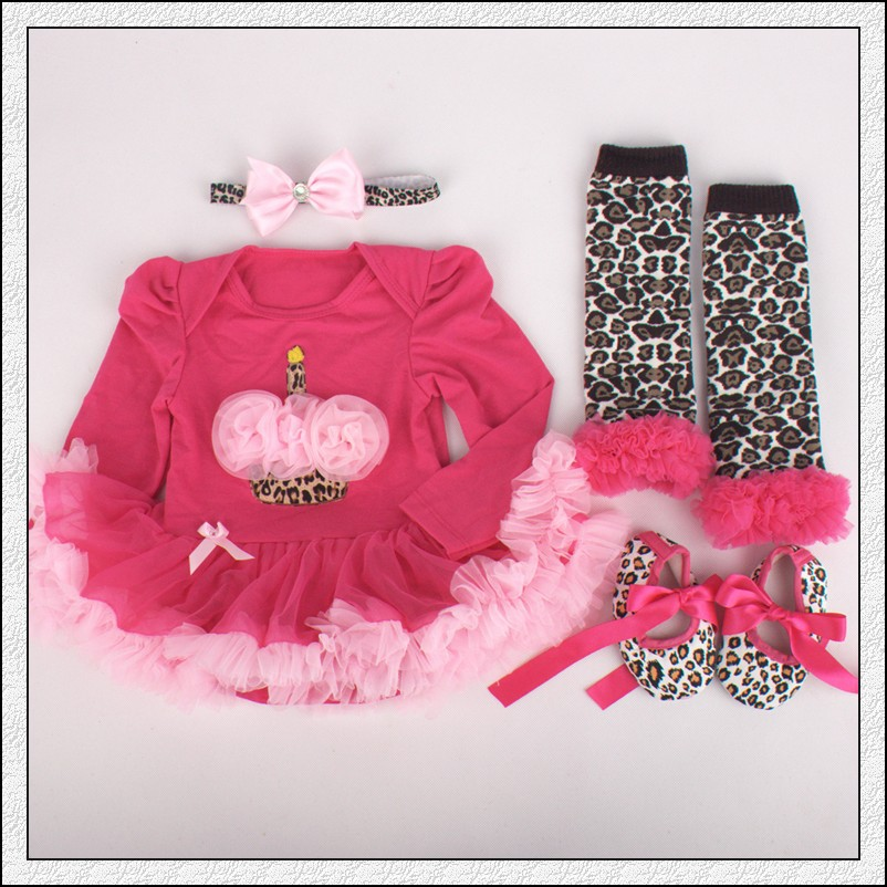 4PCs per Set Hot Pink 1st Birthday Outfits Baby Girls Long Sleeves Tutu Dress Headband Shoe