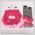 4PCs per Set Hot Pink 1st Birthday Outfits Baby Girls Long Sleeves Tutu Dress Headband Shoe Leggings for 0-12month Free Shipping